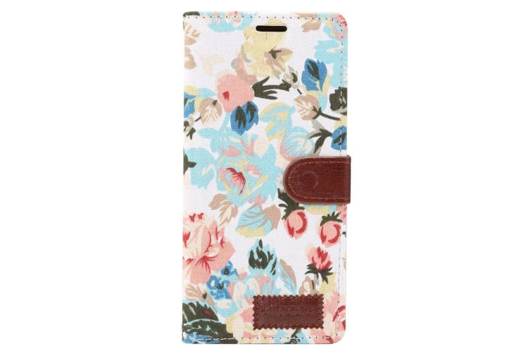 For Samsung Galaxy Note 9 Case Flower Textile Leather Flip Wallet Cover White