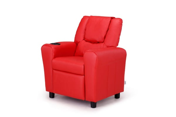 Ovela Kids' PU Leather Recliner Chair (Red)