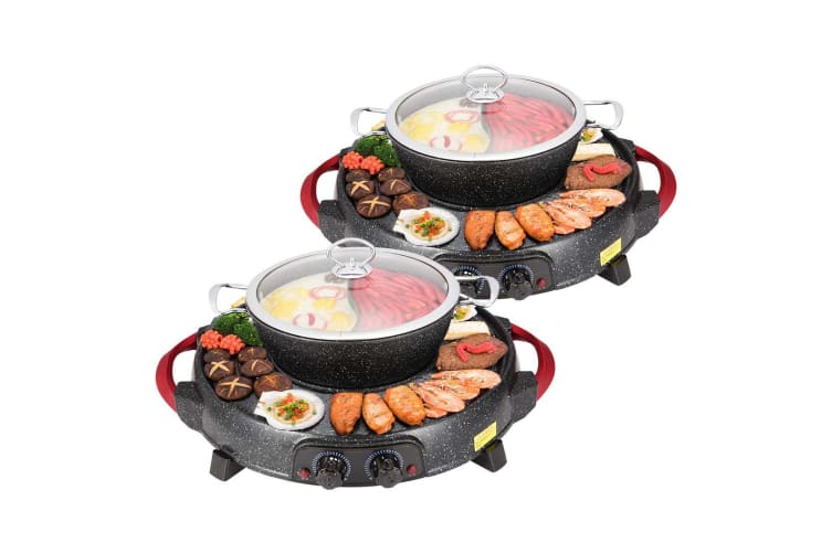 SOGA 2X 2  in 1 Electric Stone Coated Grill Plate Steamboat Two Division Hotpot