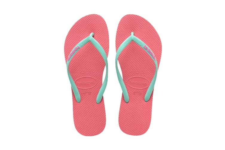 Havaianas Slim Logo Pop Up Thongs (Ice Pink/Turquoise, Size 37/38 BR)