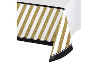 Creative Converting Black And Gold Border Print Plastic Tablecover (Black/Gold) (One Size)