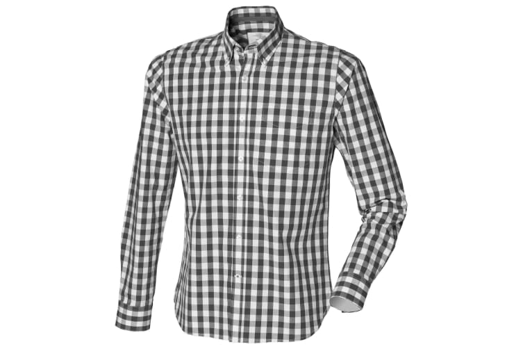 Front Row Mens Checked Casual Cotton Shirt (Black Check) (S)