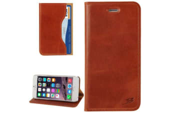 For iPhone 6S 6 Wallet Case Fashion Oil Wax Cowhide Genuine Leather Light Brown