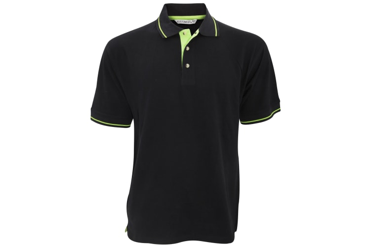 Kustom Kit Mens St. Mellion Mens Short Sleeve Polo Shirt (Black/Lime) (L)