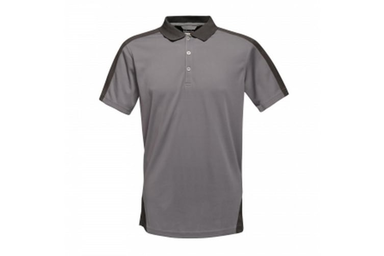 Regatta Mens Contrast Coolweave Polo Shirt (Seal Grey/Black) (L)