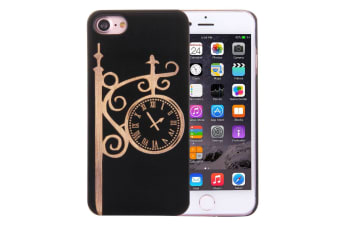 For iPhone 8 7 Case Artistic Clock on Black Bamboo Wood Durable Protective Cover