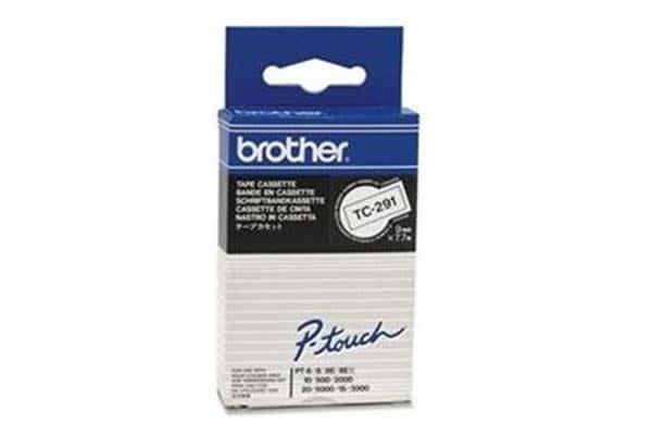 Brother genuine TC291 9MM BLK ON WHT TAPE