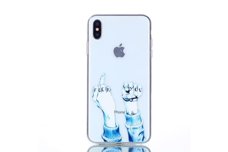 For iPhone XS Max Cover Varnish Painting Soft Thin Phone Case Finger Transparent