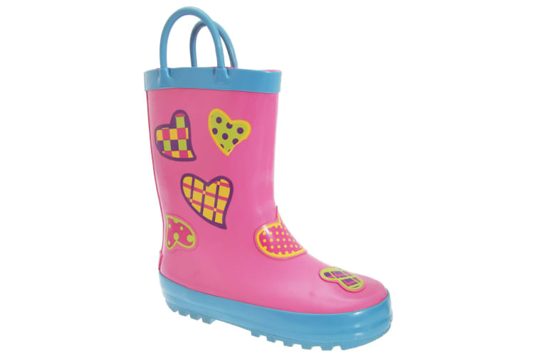 Cotswold Childrens Puddle Boot / Girls Boots (Hearts) (28 EUR)