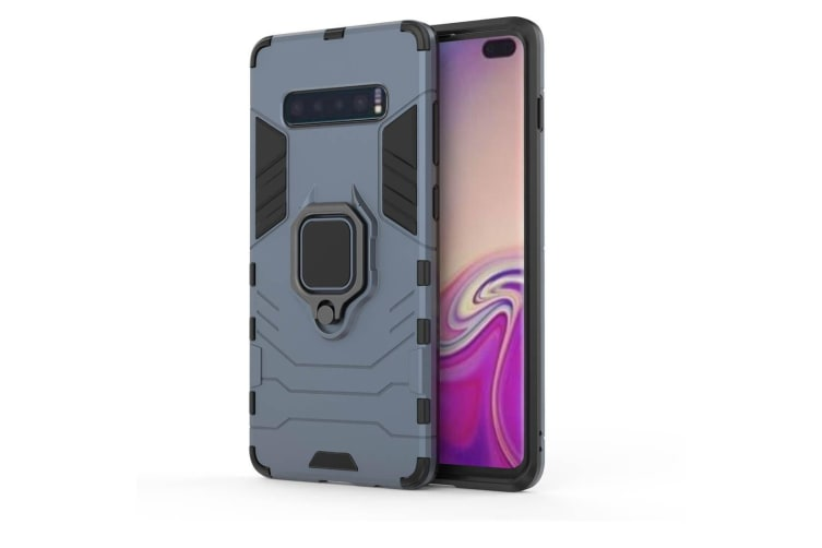 For Samsung Galaxy S10 Plus Case  Navy Blue Armour Ring Holder Shockproof Cover
