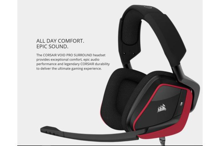 Corsair VOID PRO Red Wired Surround Premium Gaming Headset with Dolby® Headphone 7.1