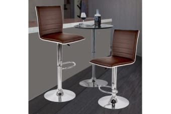 2x PU Leather Swivel Bar stool Gas Lift Adjustable BROWN (ED0205)