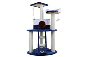 Cat Scratching Poles Post Furniture Tree House Condo (Blue/White)
