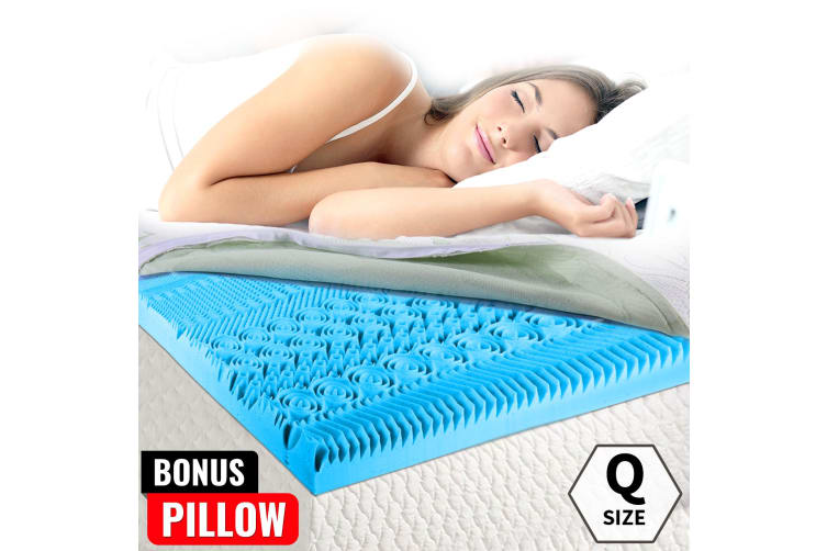 COOL GEL Memory Foam Mattress Bed Topper Queen BAMBOO Fabric Cover *10 Zone 8CM