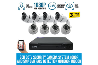Elinz 8CH CCTV Security Camera DVR 1080P Face Detection 4x Bullet 4x Dome