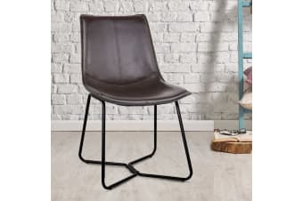 Artiss 2x Retro Vintage Eames Chair Dining Chairs Rustic DSW Leather Walnut
