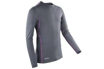 Spiro Mens Sports Compression Bodyfit Long Sleeve Base Layer Top (Grey/Mauve) (XS)