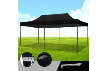 3x4.5m Pop Up Outdoor Folding Tent Canopy BLACK
