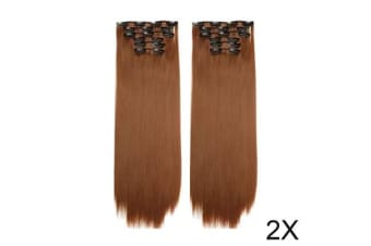 "TODO Twin 24"" High Grade Brown Light Brown Straight 6Piece 17Clips Hair Extension 2X"