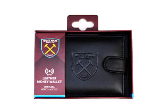 West Ham United FC Mens Official RFID Embossed Leather Wallet (Black)