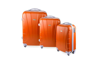 Orbis 3 Piece Hardside Spinner Luggage Set (Tangerine)