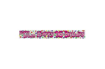 Expression Factory Childrens Girls Happy 16th Birthday Foil Banner (White/Pink)
