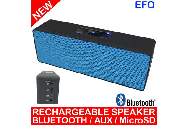 Bluetooth V3.0 Handsfree Portable Rechargeable Speaker Microsd Aux Blue N16