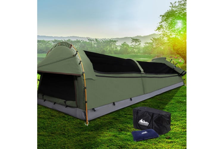 King Single Swag Camping Swags Canvas Tent Deluxe Aluminum Poles
