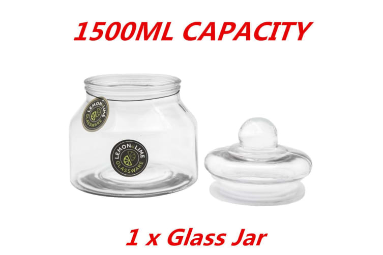1 x 1.5L Glass Multi-purpose Storage Jar Apothecary Jars Lolly Candy Buffet Wedding