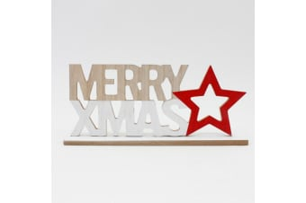 Christmas Natural Wooden Merry XMAS Sign Stand Words White Red Star 30x5x13cm