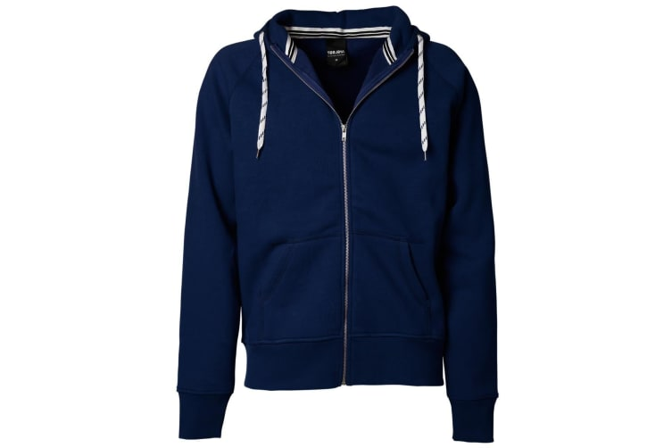 Tee Jays Mens Full Zip Hooded Sweatshirt (Navy Blue) (L)