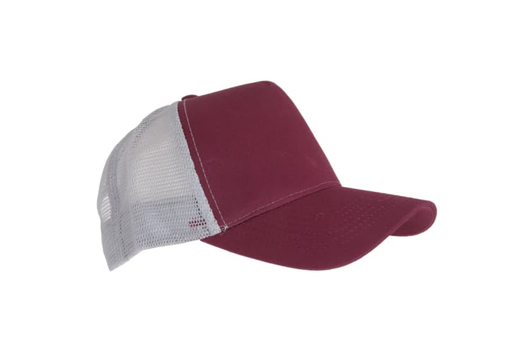 Beechfield Mens Half Mesh Trucker Cap / Headwear (Burgundy/ Light Grey) (One Size)