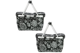 2x Sachi Collapsible Foldable Insulated Picnic Shopping Bag w Lid Camellia Black
