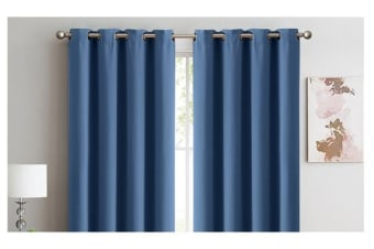 2X 100% Blockout Curtains Panels 3 Layers Eyelet INDIGO 180X230cm