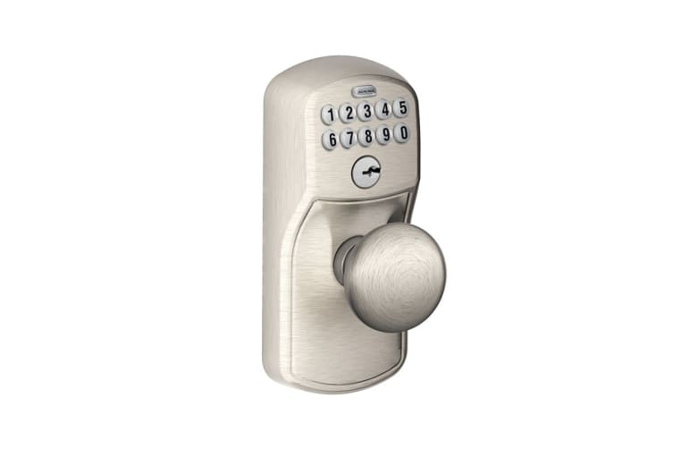 Schlage Keypad Lever with Plymouth Trim and Plymouth Knob with Flex Lock (Satin Nickel)