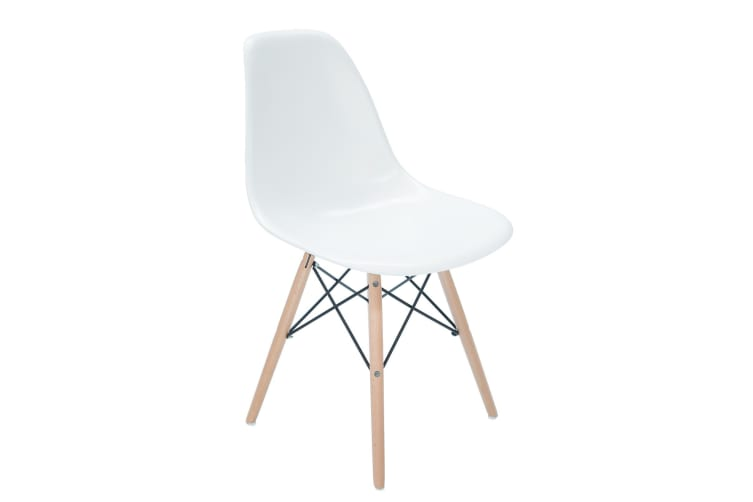 Replica Eames DSW Eiffel Chair | Natural Wood Legs | White