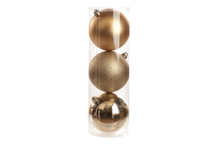 Christmas Shop Shiny/Matt/Glitter Baubles (Set Of 3) (Champagne) (One Size)