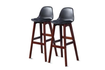 2x Beech Wood Bar Stool Black BR1024