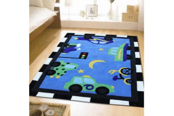 Fun Automobile Traffic Rug Blue