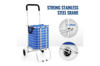 Shopping Trolley Stainless Steel Cart Foldable Basket with Wheels - Blue