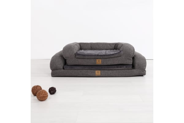 Pet Bolster Sofa - Dark Grey M-100 x 62 x 6+15cm
