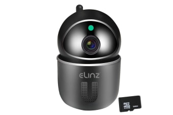 Elinz Security Camera WiFi IP Smart Auto Tracking HD Wireless Pan Tilt CCTV 1080P 32GB Black