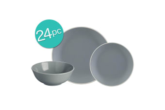 24pc Mason Cash Dinner Set Plates Bowls Side Dish Dining Kitchen Tableware Grey