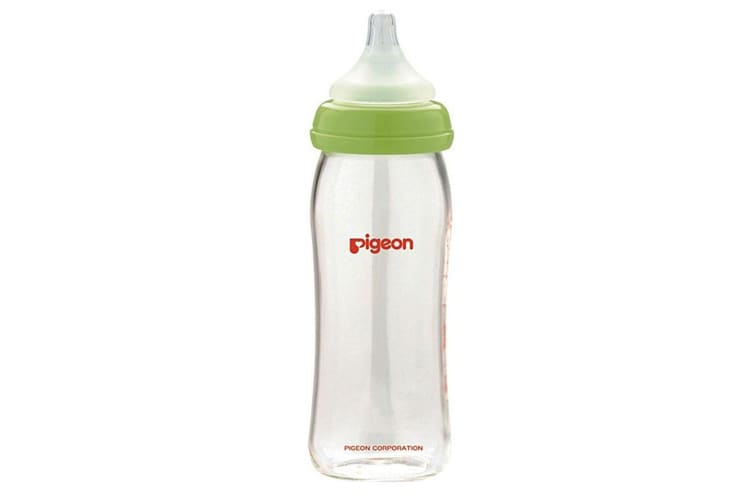 2x Pigeon Softouch Glass Peristaltic Plus Feeding Bottle 240ml M Teat Baby 3m+