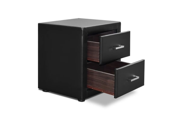 PU Leather Bedside Table 2 Drawers (Black)