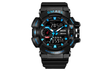 Mens Sport Quartz Digital Watch Blackblue