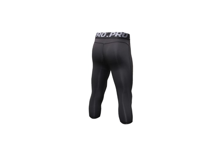 Men'S Compression Capri Shorts Baselayer Cool Dry Sports Tights - Black Black L