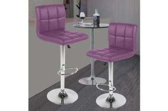 2x PU Leather Swivel Bar stool Gas Lift Adjustable PURPLE