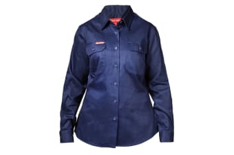 Hard Yakka Women's Cotton Drill Long Sleeve Shirt (Navy, Size 12)