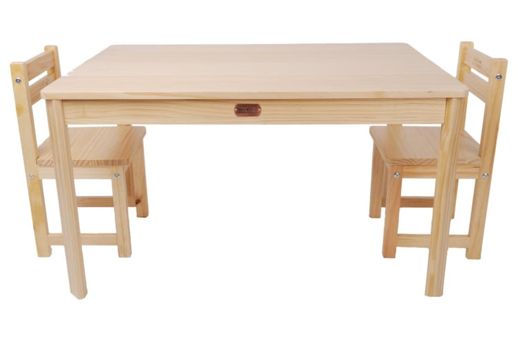 TikkTokk Little Boss Rectangle Table & Chairs Set - Natural
